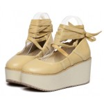 Khaki Cross Ankle Straps Ballerina Mary Jane Lolita Wedges Platforms Creepers Shoes
