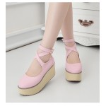 Pink Cross Ankle Straps Mary Jane Lolita Wedges Platforms Creepers Shoes