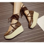 Brown Cross Ankle Straps Ballerina Mary Jane Lolita Wedges Platforms Creepers Shoes