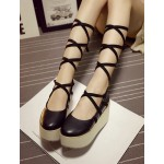 Black Cross Ankle Straps Ballerina Mary Jane Lolita Wedges Platforms Creepers Shoes