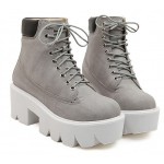 Grey Lace Up Chunky White Sole Block Platforms Boots Shoes