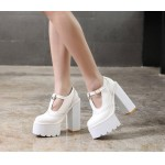White Punk Rock T Strap Mary Jane Chunky Sole Block High Heels Platforms Pumps Shoes