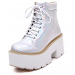 Silver Holographic Laser Lace Up Chunky White Sole Block Platforms Boots Shoes