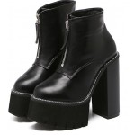 Black Gothic Punk Rock Chunky Sole Block High Heels Platforms Pumps Boots Shoes