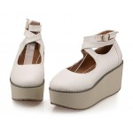 Cream White Cross Ankle Straps Mary Jane Lolita Wedges Platforms Creepers Shoes