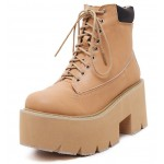 Brown Khaki Camel Lace Up Chunky Sole Block Platforms Boots Shoes