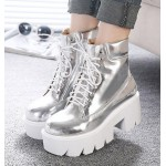 Silver Metallic Mirror Lace Up Chunky White Sole Block Platforms Boots Shoes