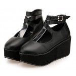 Black Cross Ankle Straps Mary Jane Lolita Wedges Platforms Creepers Shoes