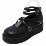 Black Heart Cross Ankle Straps Mary Jane Round Head Lolita Platforms Creepers Shoes