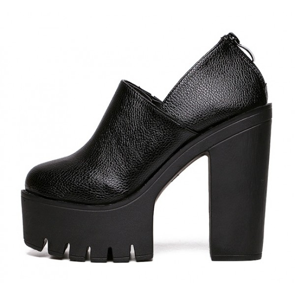 Black Punk Rock Gothic Chunky Sole Block High Heels Platforms Pumps Shoes