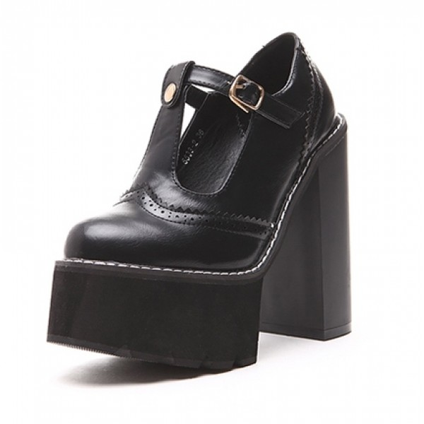 Black Punk Rock T Strap Mary Jane Chunky Sole Block High Heels Platforms Pumps Shoes