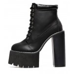 Black Sneakers Chunky Sole Block High Heels Platforms Boots Shoes