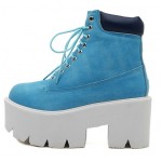 Blue Lace Up Chunky White Sole Block Platforms Boots Shoes