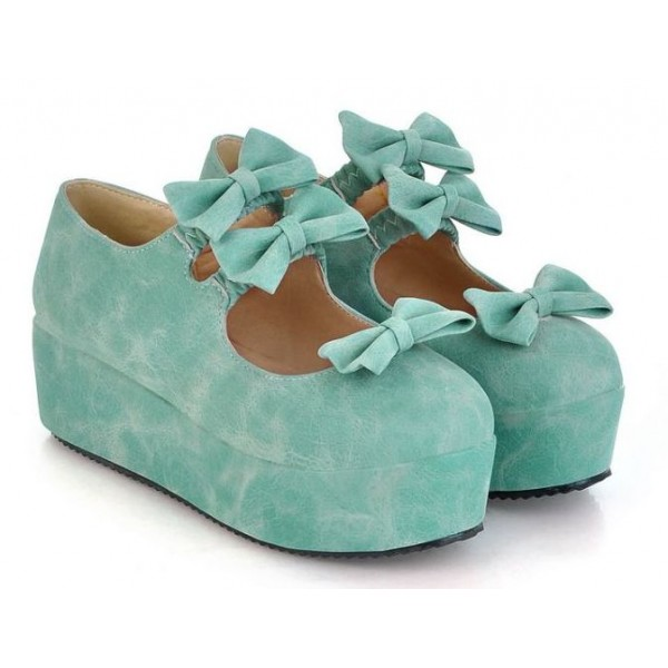 Blue Suede Triple Bows Mary Jane Lolita Platforms Creepers Shoes