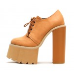 Brown Camel Khaki Punk Rock Chunky Sole High Block Heels Platforms Boots Shoes