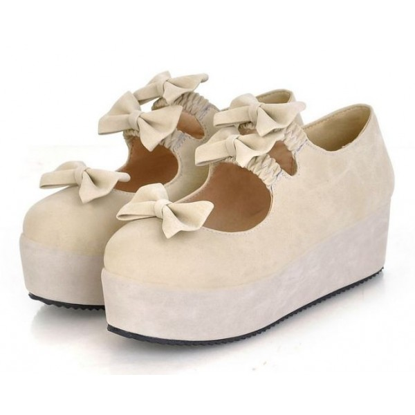 Cream Suede Triple Bows Mary Jane Lolita Platforms Creepers Shoes