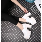 White Gothic Punk Rock Chunky Sole Block High Heels Platforms Pumps Shoes