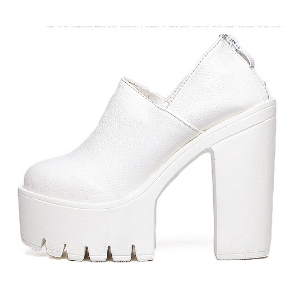 White Punk Rock Gothic Chunky Sole Block High Heels Platforms Pumps Shoes