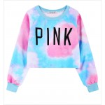 Pink Blue Rainbow Cloud Universe Cropped Long Sleeve Sweatshirts Tops