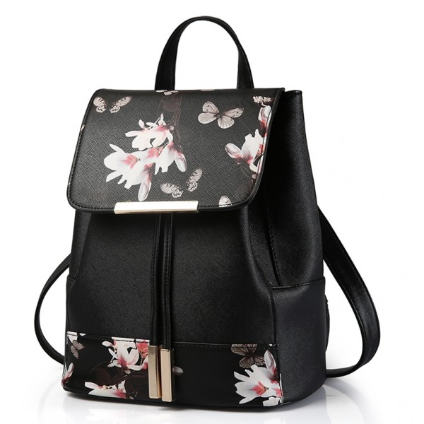 Black Vintage Pink Flowers Floral Gothic Punk Rock Backpack
