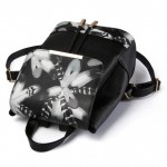 Black Vintage Grey Flowers Floral Gothic Punk Rock Backpack