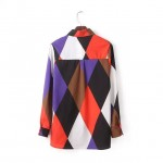 Colorful Abstract Geometric Rhombus Long Sleeves Blouse Shirt
