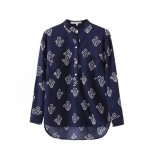 Blue Vintage Retro Pattern Cotton Long Sleeves Blouse Shirt