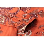 Orange Paisleys Retro Pattern Cotton Long Sleeves Blouse Shirt