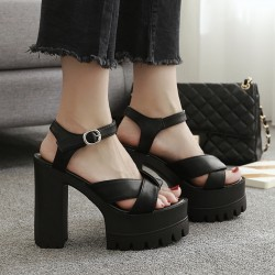 Black Peep Toe Punk Rock Platforms High Heels Sling Back Sandals Shoes