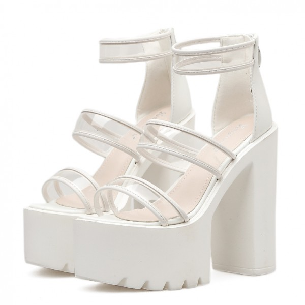 White Peep Toe Punk Rock Platforms High Heels Sling Back Sandals Shoes