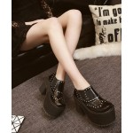 Black Metal Studs Lolita Punk Rock Creepers Platforms High Heels Shoes