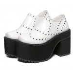 White Metal Studs Lolita Punk Rock Creepers Platforms High Heels Shoes
