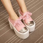 Pink Metal Cap Ribbon Lace Up Lolita Punk Rock Creepers Platforms High Heels Shoes