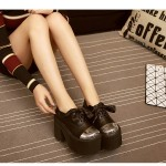 Black Metal Cap Ribbon Lace Up Lolita Punk Rock Creepers Platforms High Heels Shoes