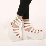 White Straps Gladiator Lolita Punk Rock Creepers Platforms High Heels Sandals Shoes