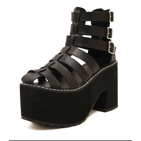 Black Straps Gladiator Lolita Punk Rock Creepers Platforms High Heels Sandals Shoes