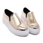 Gold Mirror Metallic Patent Leather Casual Sneakers Loafers Flats Shoes