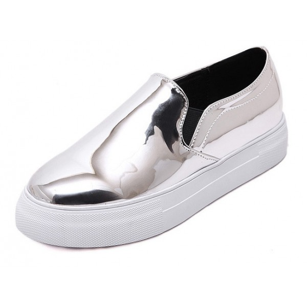 Silver Mirror Metallic Patent Leather Casual Sneakers Loafers Flats Shoes