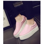 Pink Leather Casual Sneakers Loafers Flats Shoes