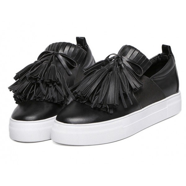 Black Leather Tassels Fringes Casual Sneakers Loafers Flats Shoes