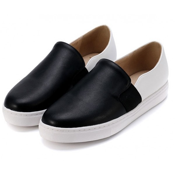 Black White Leather Casual Sneakers Loafers Flats Shoes