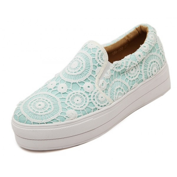 Blue Lace Crochet Casual Sneakers Loafers Flats Shoes