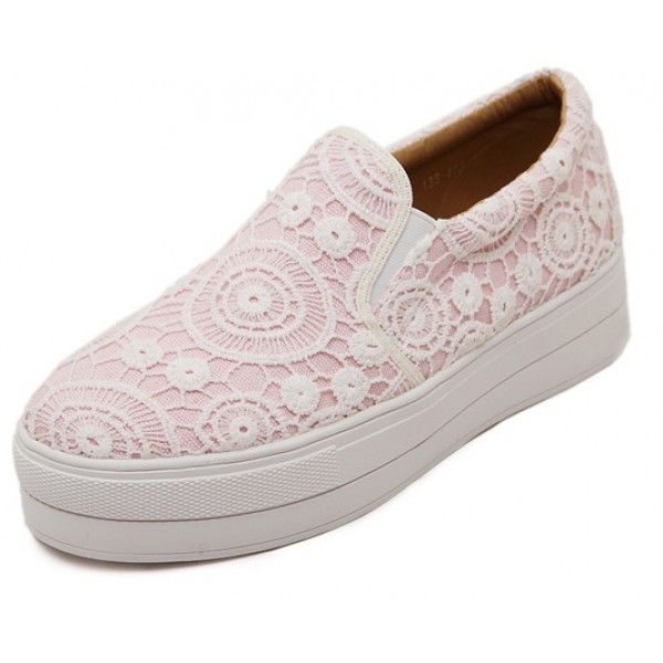 Pink Lace Crochet Casual Sneakers Loafers Flats Shoes