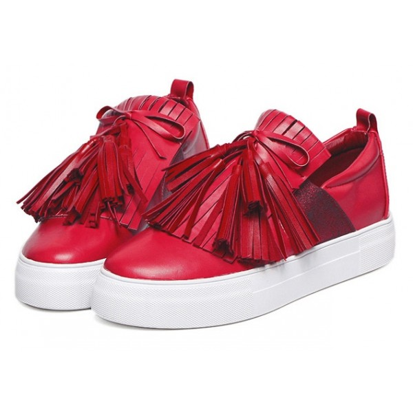 Red Leather Tassels Fringes Casual Sneakers Loafers Flats Shoes