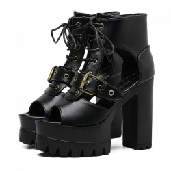 Black Peep Toe Punk Rock Platforms High Heels Straps Sandals Shoes