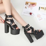 Black Peep Toe Straps Punk Rock Platforms High Heels Sandals Shoes