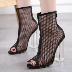 Black Sheer Net Lace Up PU Peep Toe Glass High Heels Boots Shoes