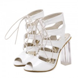 White Patent Hollow Out Lace Up PU Peep Toe Glass High Heels Boots Shoes