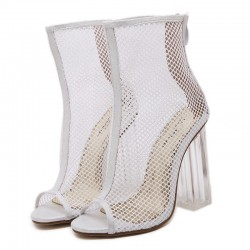 White Sheer Net Lace Up PU Peep Toe Glass High Heels Boots Shoes
