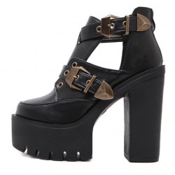 Black Metal Buckles Punk Rock Platforms High Heels Straps Sandals Shoes